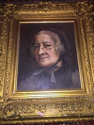 ANTIQUE 19th Century Oil Painting LADY portrait in  beautiful Gilt Gesso Frame
