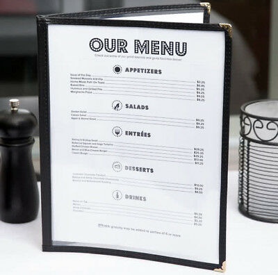 "100 PACK 8 1/2"" x 11"" Black Vinyl Two Pocket Clear Menu Cover Restaurant Case"