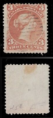 1868 - 1876 CANADA Scott #25 VF 3 C RED LARGE QUEEN - USED GRID CANCEL