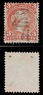 1868 - 1876 CANADA Scott #25 VF 3 C RED LARGE QUEEN - USED VALUE