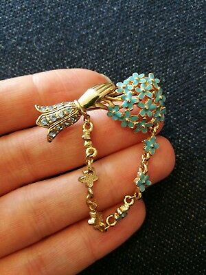 vintage hand and posy brooch enamel forget me not