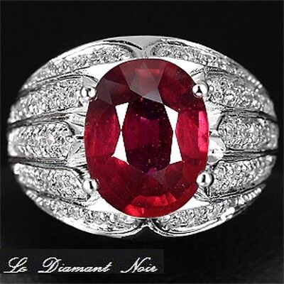 LDN_Bague Rubis Rouge Sang Saphirs blanc_Argent 925_T56