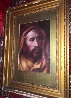 Antique 19Th Century Oil On Panel Portrait Middle Eastern/bedouin In Gilt Gesso