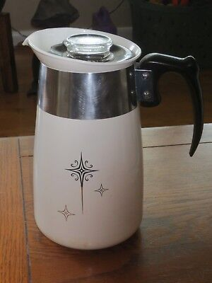Vintage CORNING WARE 6 Cup Coffee Pot Percolator Stove Top!