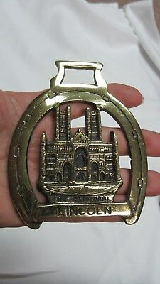 Vintage English Brass Horse Bridle Lincoln Cathedral Medallion Ornament England