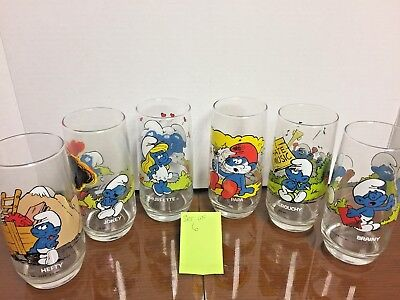 1982 Smurf 6 Glasses , Smurfette, Papa Smurf, Hefty, Brainy, Jokey And Grouchy