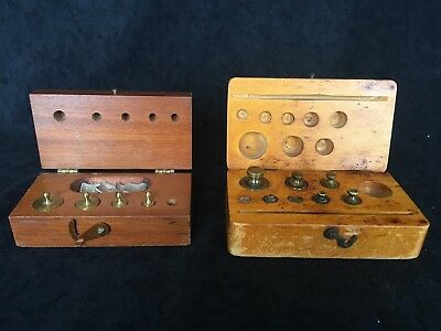 2 Sets Of Vintage Brass Apothecary Weights