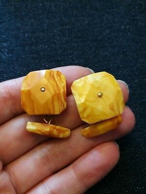 Antique egg yolk amber cufflinks