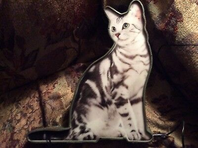 Unusual Kitty light Grey Tabby Shelf or Wall Mounted Lamp Cat Gift!!