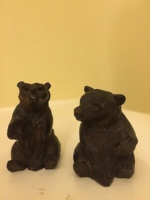 Two miniature black forest bears