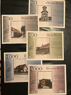 Hungary Alsomocsoladi RIGAC Forint Local Issue RARE 5 banknote sample full set
