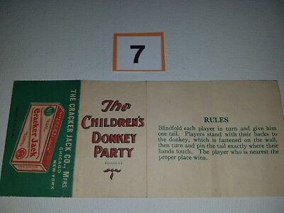 Cracker Jack Paper Booklet Childrens Donkey Party - Excellent Cond - Low Reserve
