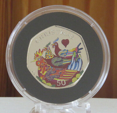 2007 Isle of Man Christmas Coloured 50p Coin 'Three French Hens' UNC D/F +  COA