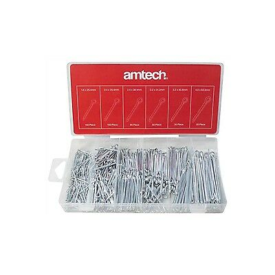 New Am-Tech S6260 500pc Cotter Pin Assortment Set Split Hair Pings Workshop
