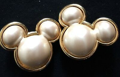 Vintage Mickey Mouse Pearl Framed in Gold tone metal Clip Earrings Signed Disney