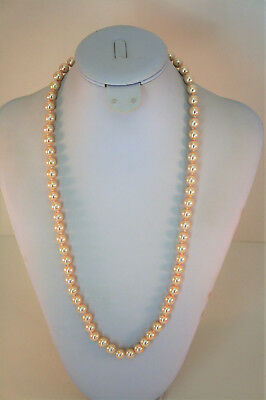 """Charter Club silver tone 8MM champagne faux pearl strand necklace 22"""""""