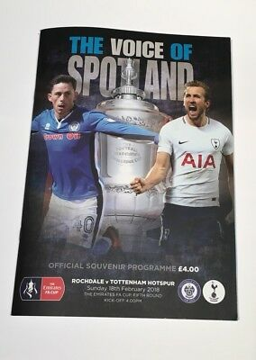 Rochdale V Tottenham Hotspurs FA Cup 5th Round 18/02/18 Programme