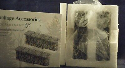 """Department 56 Village """"Woodland Stone Wall"""" Set of 2  #4025456  (Porcelain)  NEW"""