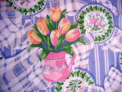 SPRING FLORAL Large Tablecloth PINK TULIPS In Pitchers BLUE & WHITE Plaid DISHES