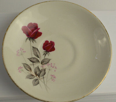 Staffordshire England Saucer 22kt Gold Trim  Rose Design Vintage Crown Sissex