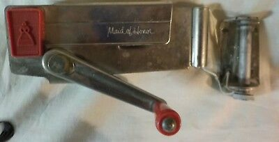 Vintage Maid Of Honor Can Opener Working Condition with Mounting Bracket / Red