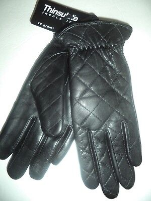 Ladies Quilted Thinsulate Leather Driving Gloves,Small, Black