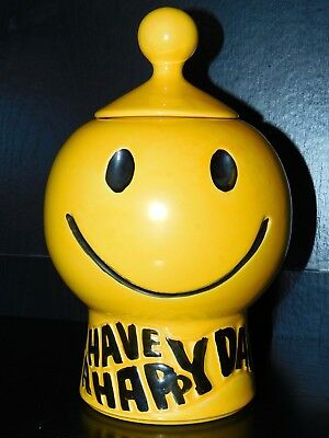Mccoy Pottery, Smiley Face Have A Happy Day Cookie Jar #235