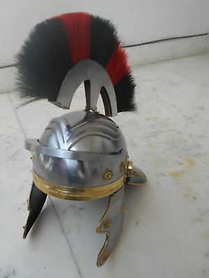 ROMAN LEGIONAIRE Soldier Centurion Steel-HELM ARMOR with sca RED BLACK PLUME ff.