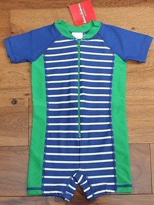 NEW Hanna Andersson BLUE STRIPE RASH GUARD SWIM SUIT sz 18-24 Mo 80 Boys Beach
