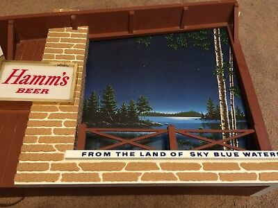 """Vintage Used Hamm's Motion Lighted Beer Sign""""FROM THE LAND OF SKY BLUE WATERS"""""""