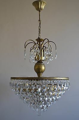 Vintage Antique French Basket Style Brass Crystals Chandelier Ceiling Mini Lamp