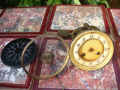 CLOCK PART  ( French Mantle Clock Movement With Pendulum For  SPARE OR REPAIR