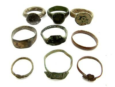 Lot Of 9 Roman / Medieval Bronze Rings For Cleaning - Wearable Superb - B117