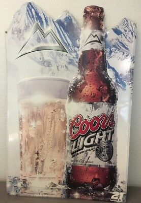 "Coors Light The Silver Bullet Tin Metal Advertising Sign 21"" X 14"" Pub Beer 2006"