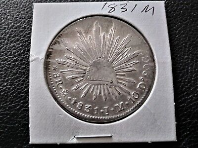 Mexico 8 Reales 1831 Mo JM Minted in Mexico City, MX Rare old silver coin.