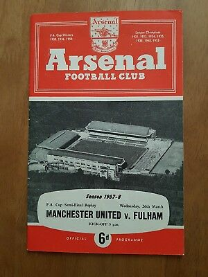 1957/58 Fa Cup Semi Final Replay Manchester United V Fulham. Munich Season