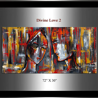 LARGE Abstract Painting Original figurative painting, Couple, figurative woman