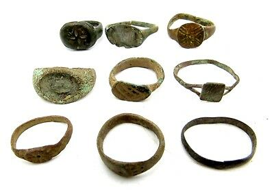 Lot Of 9 Roman / Medieval Bronze Rings For Cleaning - Wearable Superb - B119
