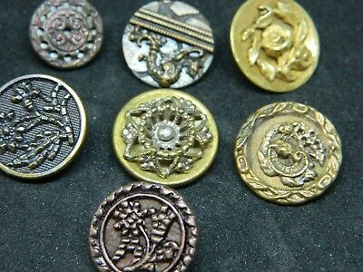LOT 7 Sm Victorian Antique Vtg Metal Brass Buttons PICTURES FLOWERS Plant Life