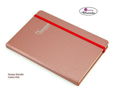 Monesta Hard Cover A5 Lined Paper, Journal Notebook, Martello Pink