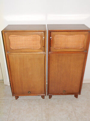 Hickory Mahogany MCM Nightstands Woven Cane Laszlo Style 39 in Tall
