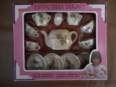 Children's China 13 pc Tea Set service for 4 age 8+ Made in China in box Rose