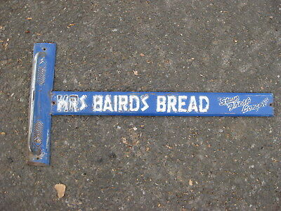 Vintage Mrs Bairds Bread Door Push Pull Embossed Metal  Nice