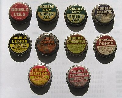10 different cork-lined Double Cola and Double flavors soda bottle caps