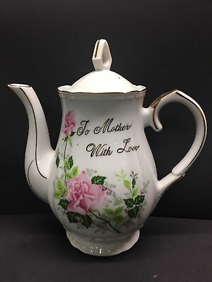 Vintage Norcrest Teapot Coffee Pot Porcelain Says: To Mother With Love
