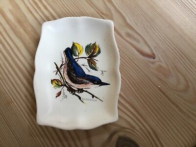 Small trinket/pin tray Axe Vale Pottery bird Nuthatch