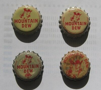 4 different Mountain Dew Hillbilly cork-lined soda bottle caps