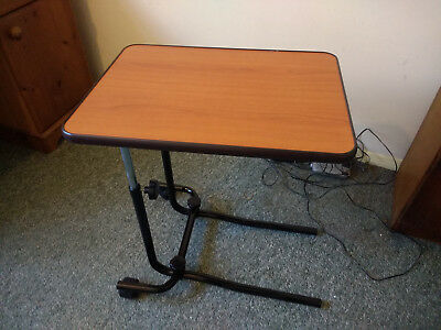 Adjustable Over bed Table with 2 castor wheels & Tilting Top