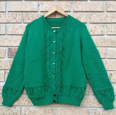 Beautiful Handknit Cardigan Wool Mix 50's Style Vintage Emerald Green Size M
