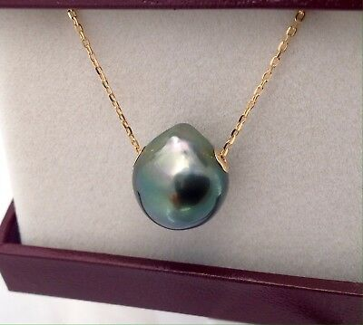 Free Shipping! 14.5 x 13mm AAA Tahitian Pearl floating on a 9k Solid Gold Chain